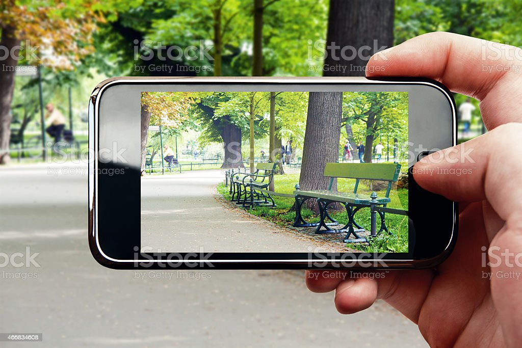 Snapping a photo with a smart phone at the park stock photo