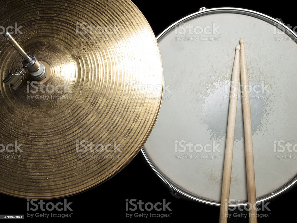 snare drum and hi-hat stock photo