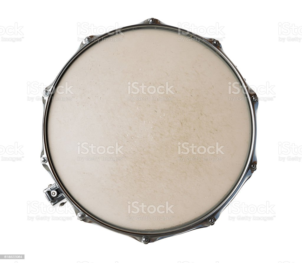 Snare drum isolated on white background stock photo