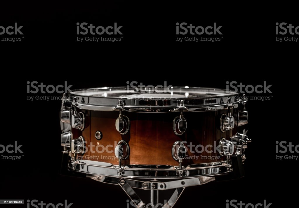 snare on a black background, musical instrument stock photo