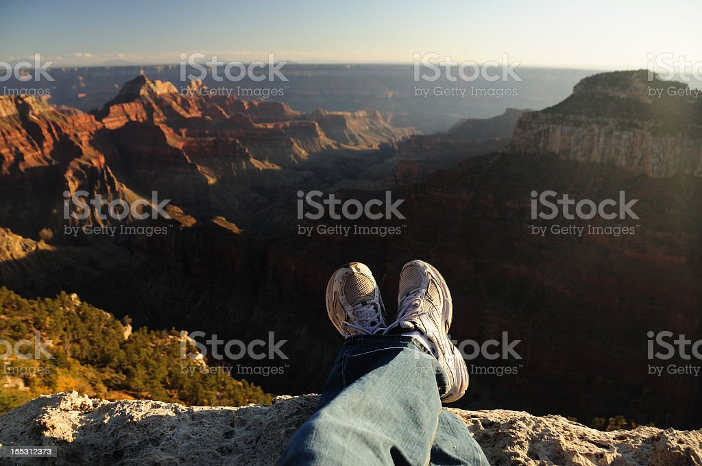 Sneaker perspective of the Grand Canyon stock photo