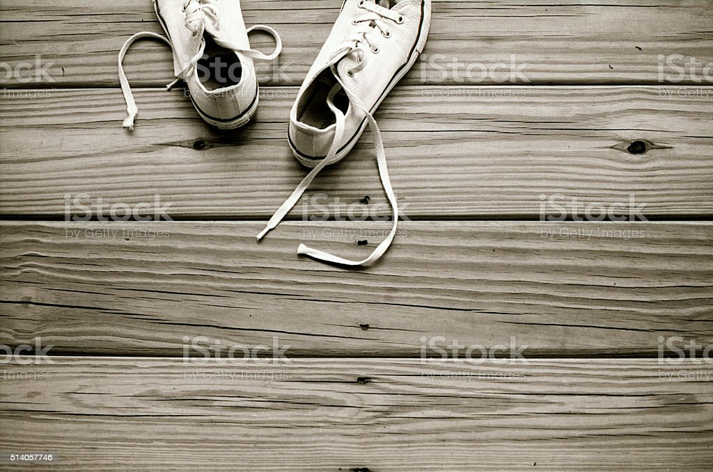 Sneakers on Deck stock photo