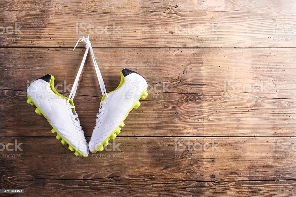 Sneakers on the floor stock photo