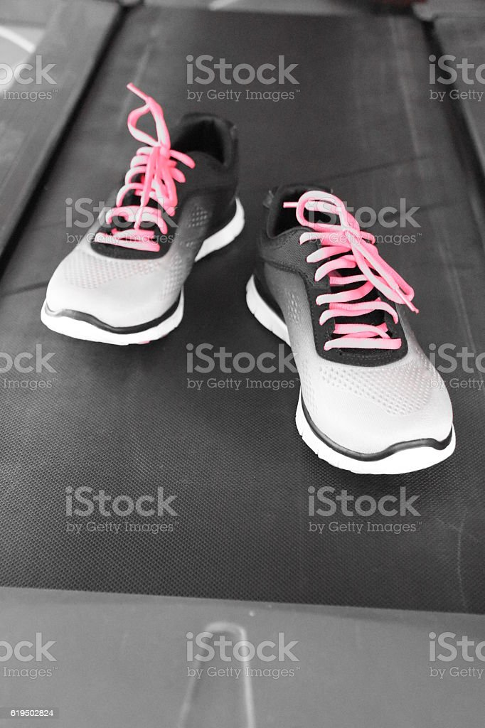 Sneakers, pink laces stock photo