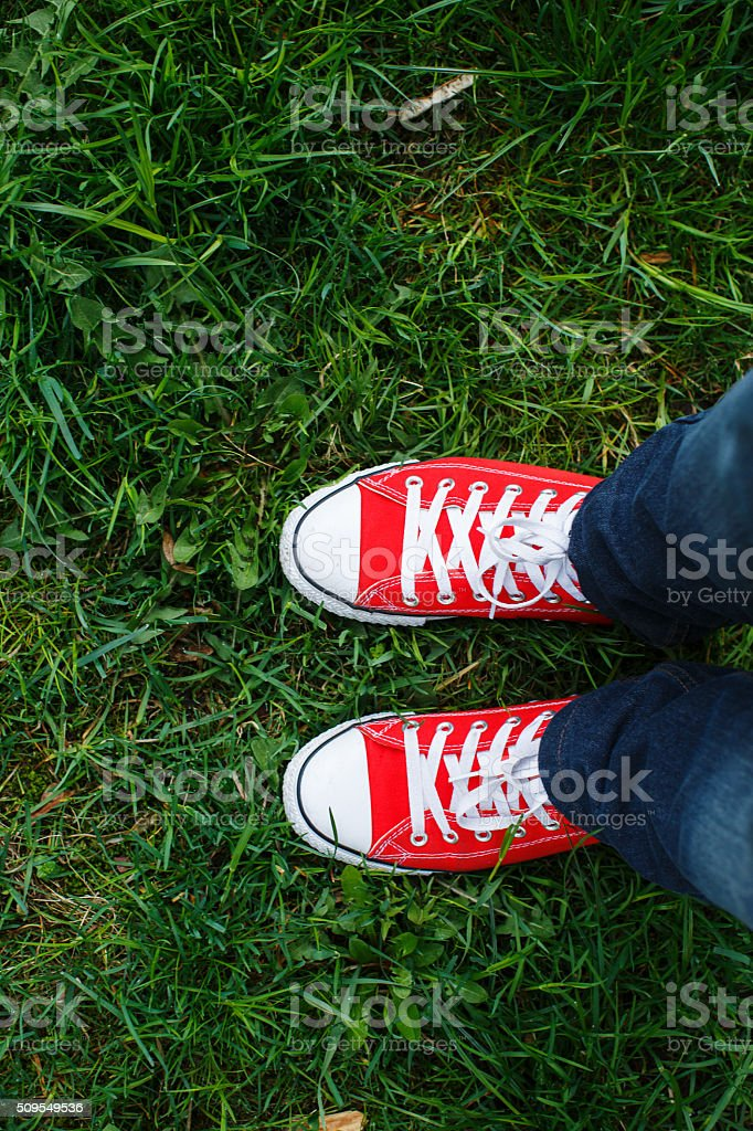 sneakers shoes walking on grass stock photo
