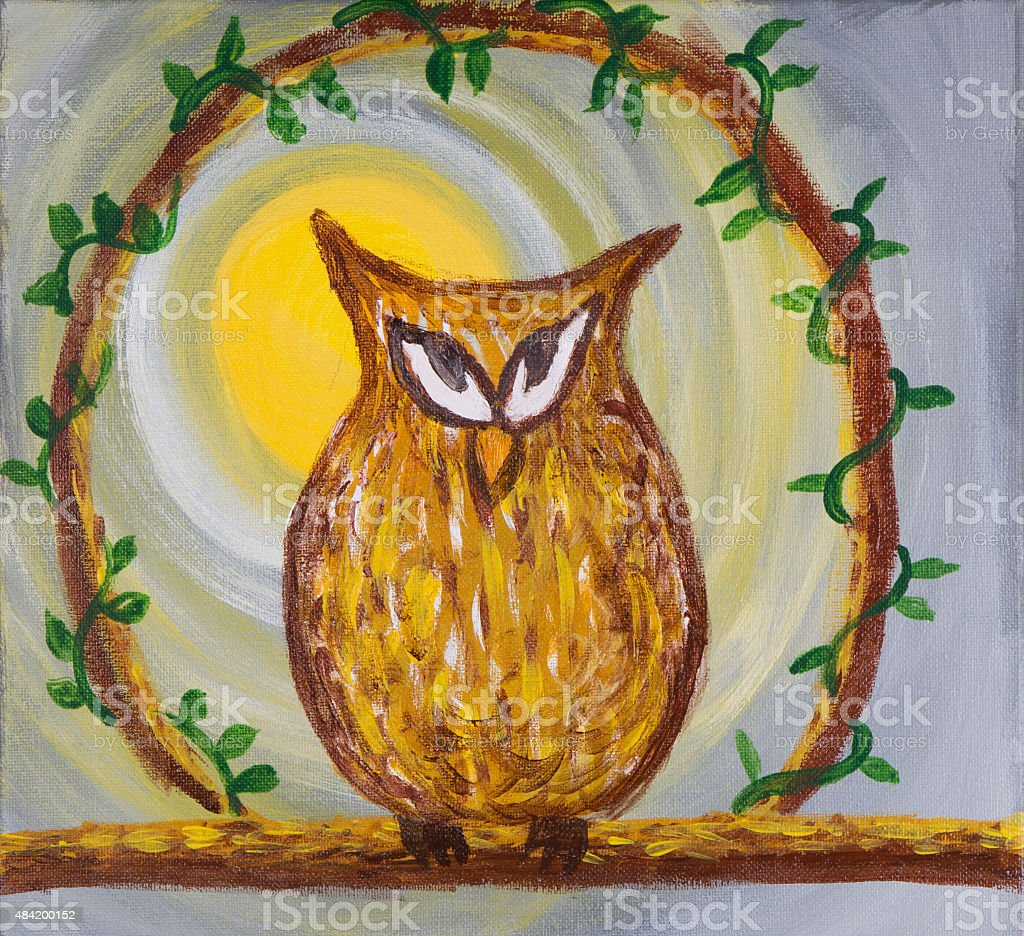 Sneaky cunning looking owl acrylic painting stock photo