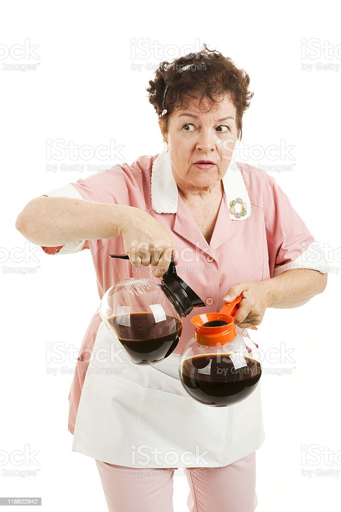 Sneaky Waitress Switches Coffee royalty-free stock photo