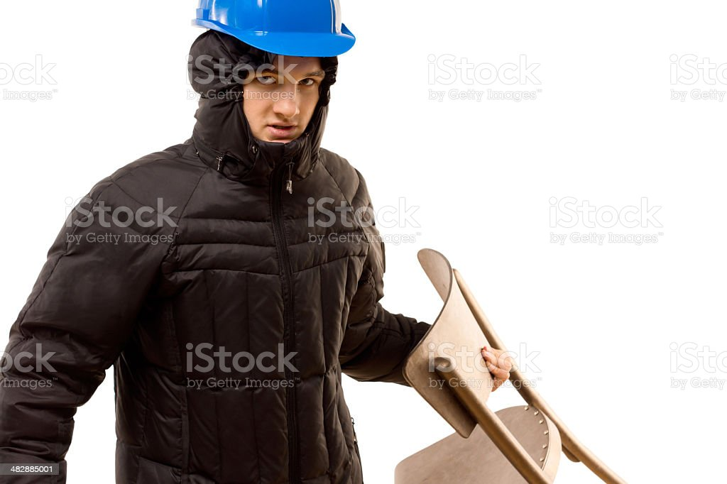 Sneering aggressive thug holding a wooden chair stock photo