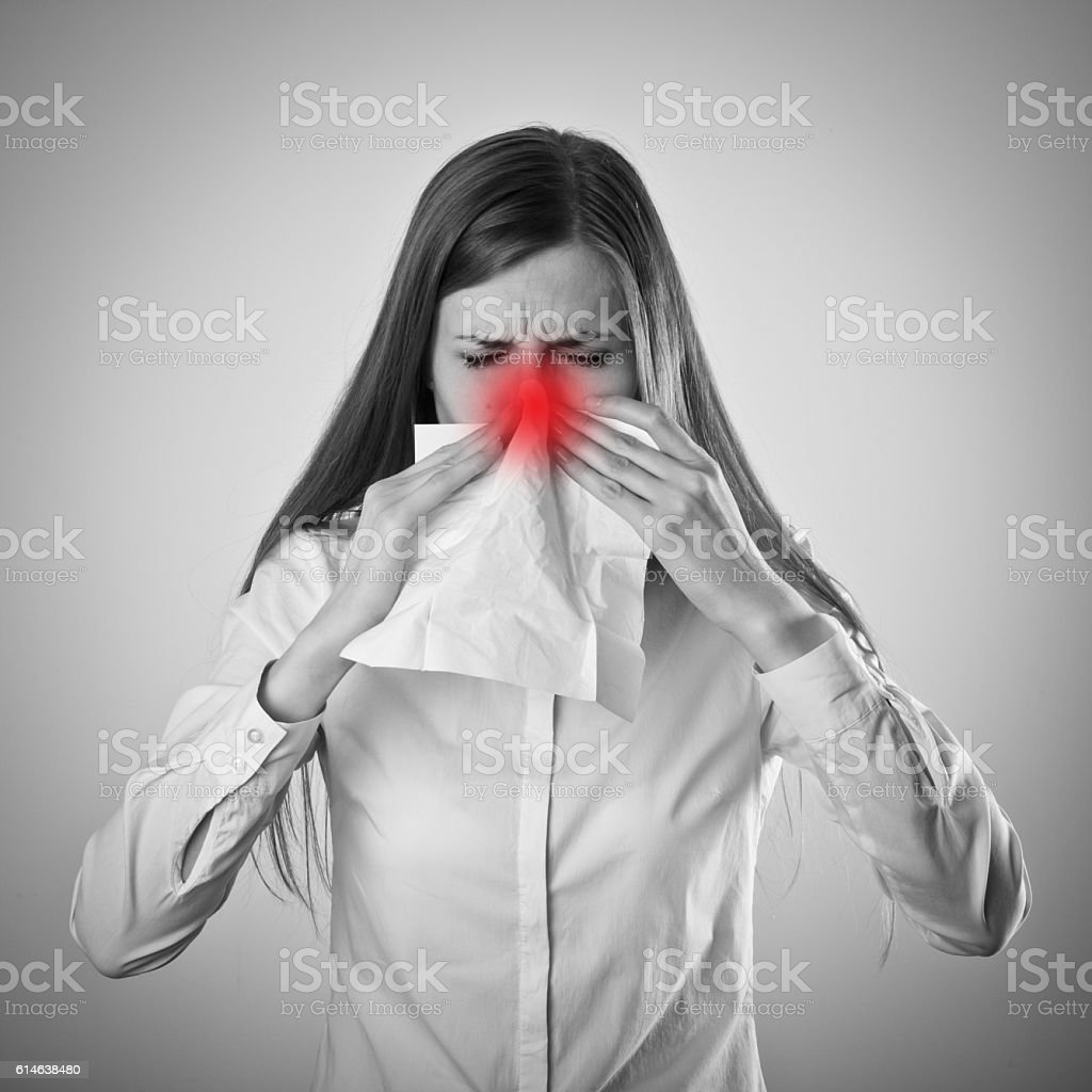 Sneeze and allergy concept. stock photo