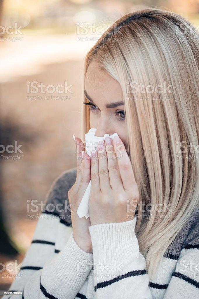 Sneeze stock photo