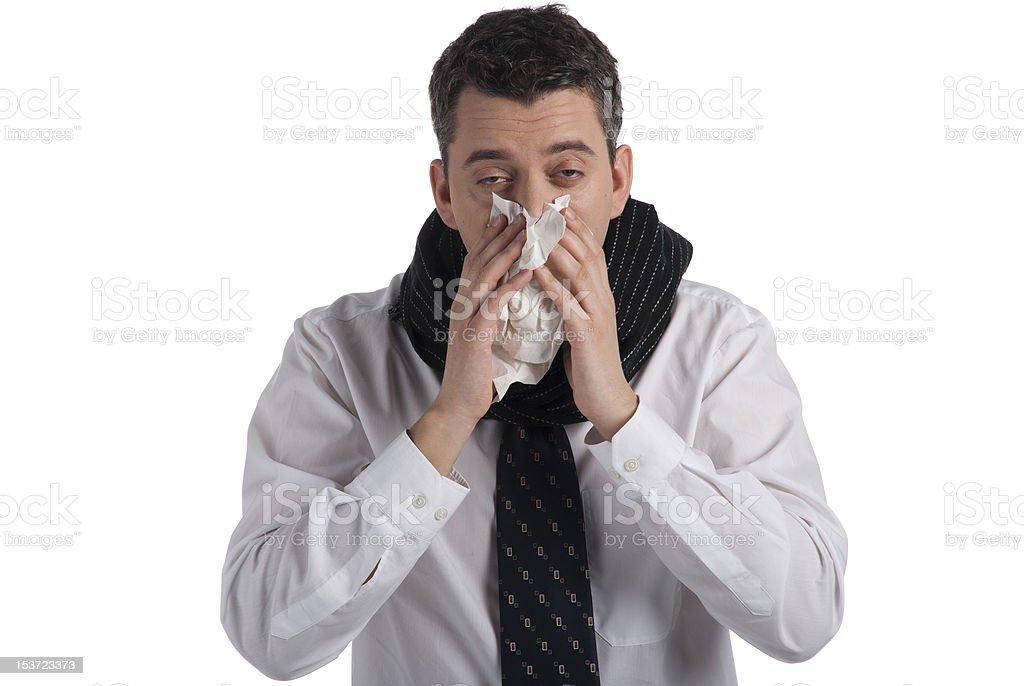 Sneezing businessman royalty-free stock photo
