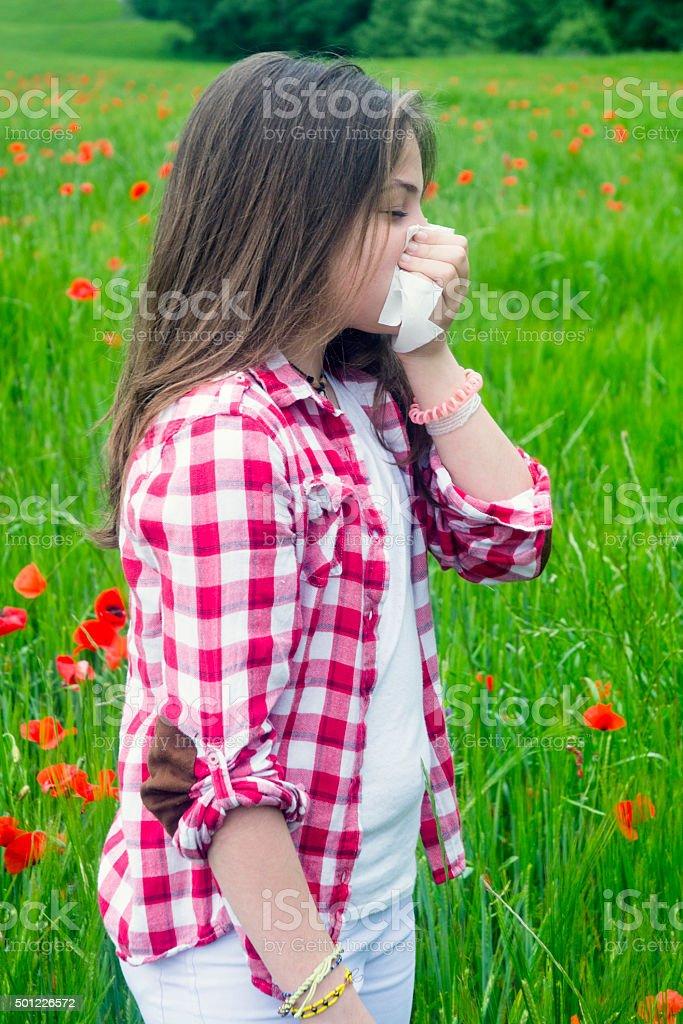 Sneezing, flu, hay fever stock photo