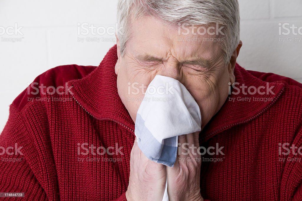 sneezing man royalty-free stock photo