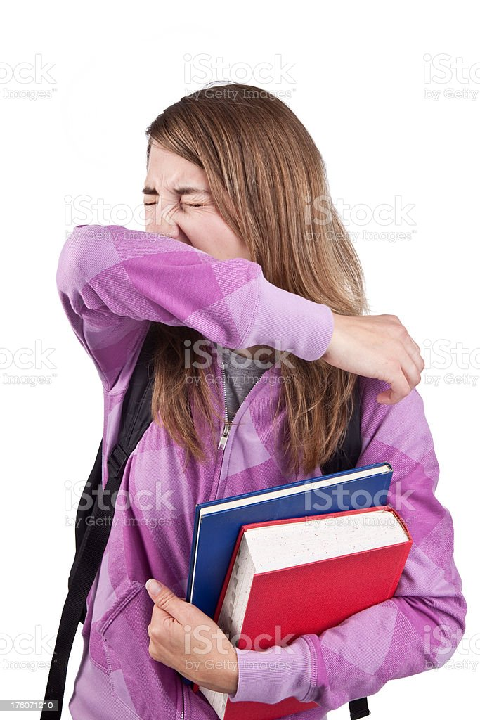 Sneezing Student royalty-free stock photo