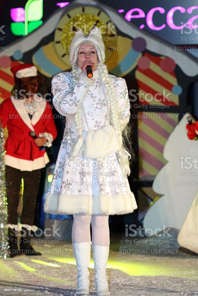 Snegurochka (Snow Maiden). Companion of Father Frost stock photo