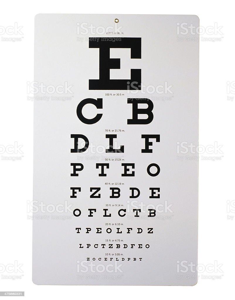 Snellen Eye chart stock photo