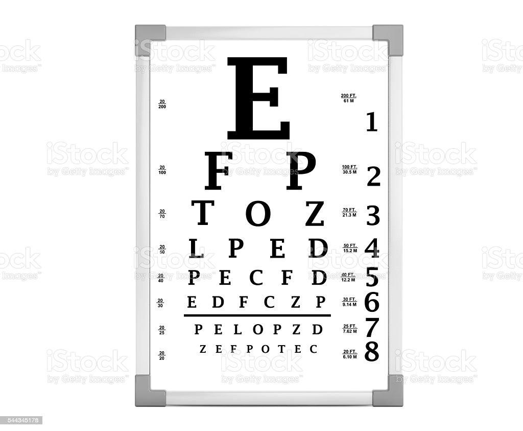 Snellen Eye Chart Test Box. 3d Rendering stock photo