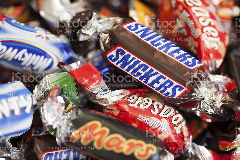 Snickers, Mars, Milky Way, Galaxy, Bounty, Maltesers Teasers stock photo