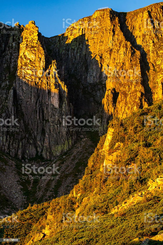 Sniezne Kotly in Sudety Mountains, view from below on  ridge. stock photo