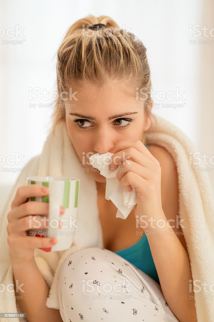 Sniffle stock photo
