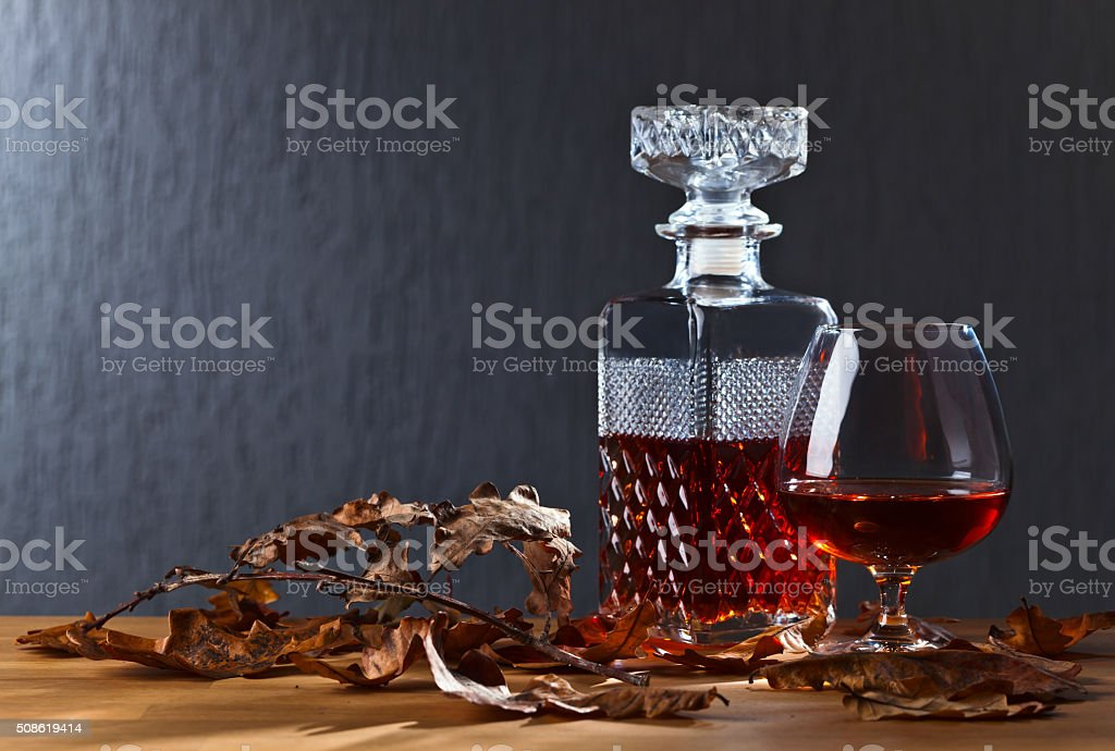 snifter of brandy stock photo