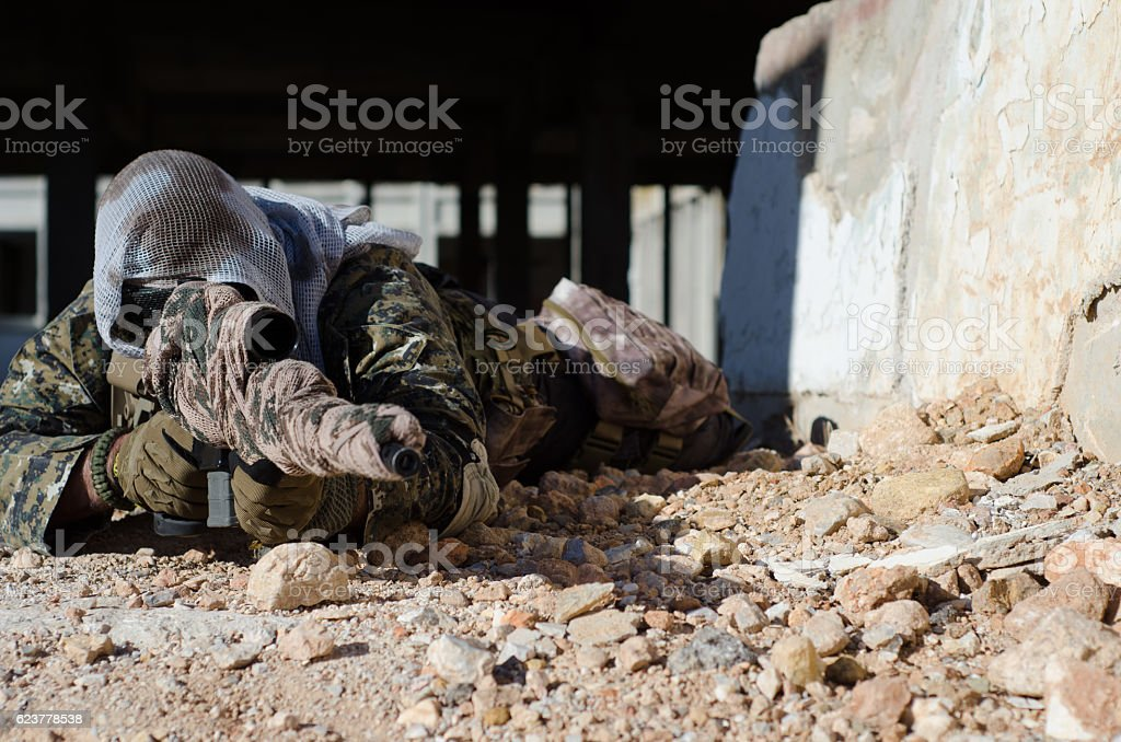 Sniper aim target stock photo