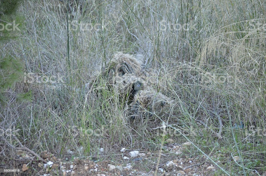 Sniper hiden stock photo