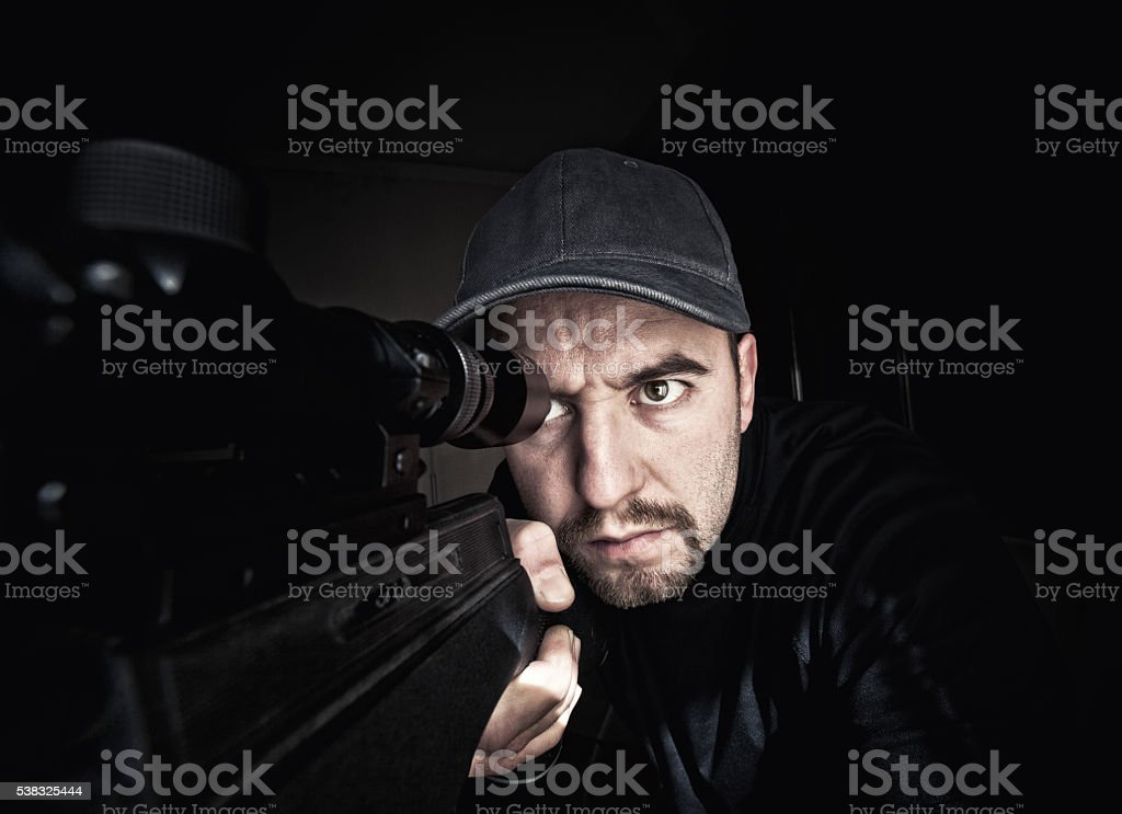sniper in action stock photo
