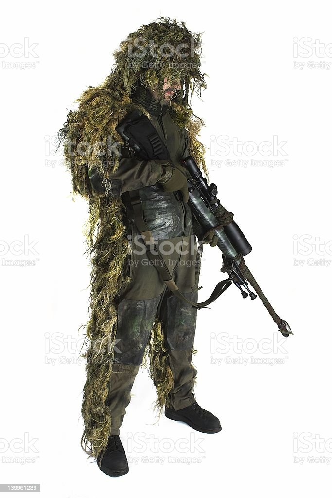 Sniper in ghillie suit stock photo