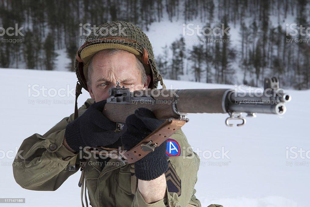 Sniper in snow stock photo