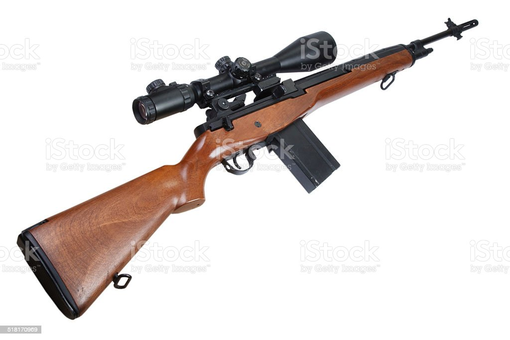 M14 sniper rifle isolated stock photo