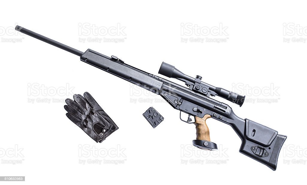Sniper rifle with riflescope stock photo