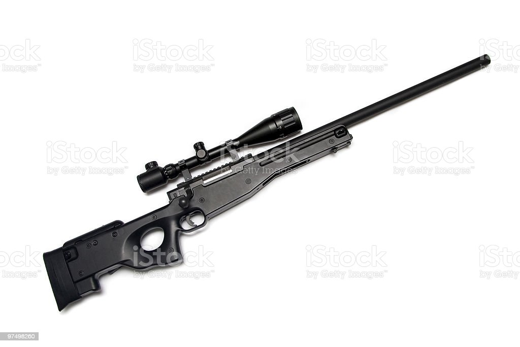 Sniper rifle with riflescope. stock photo