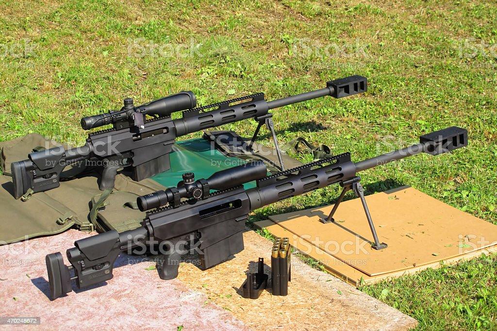 Sniper rifles stock photo