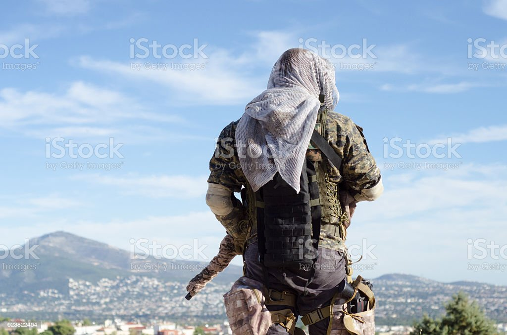 Sniper stand back view stock photo