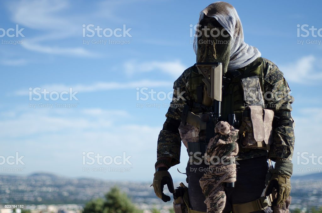 Sniper stand front view stock photo