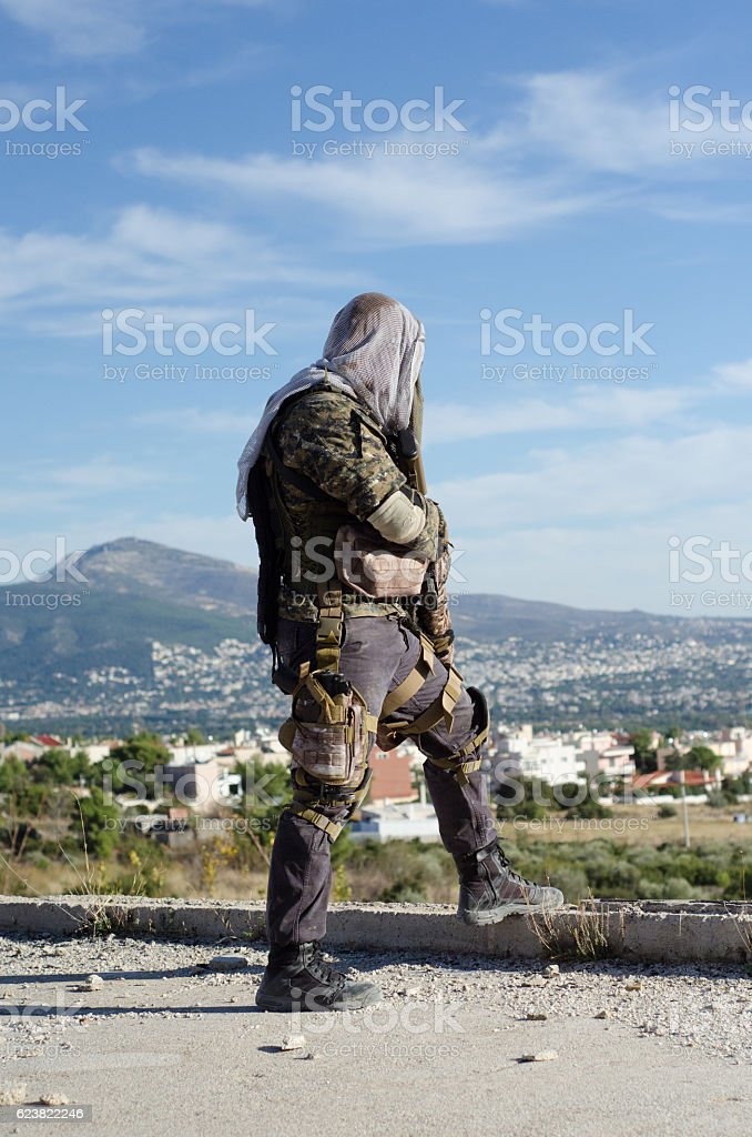 Sniper stand right back view stock photo