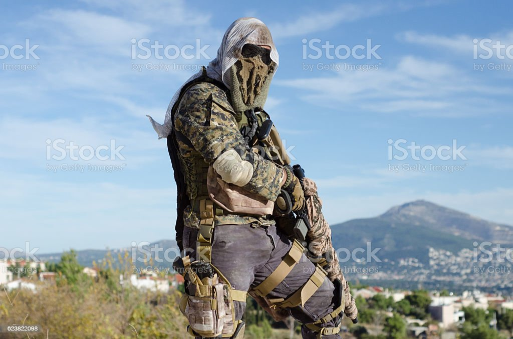 Sniper stand right view stock photo