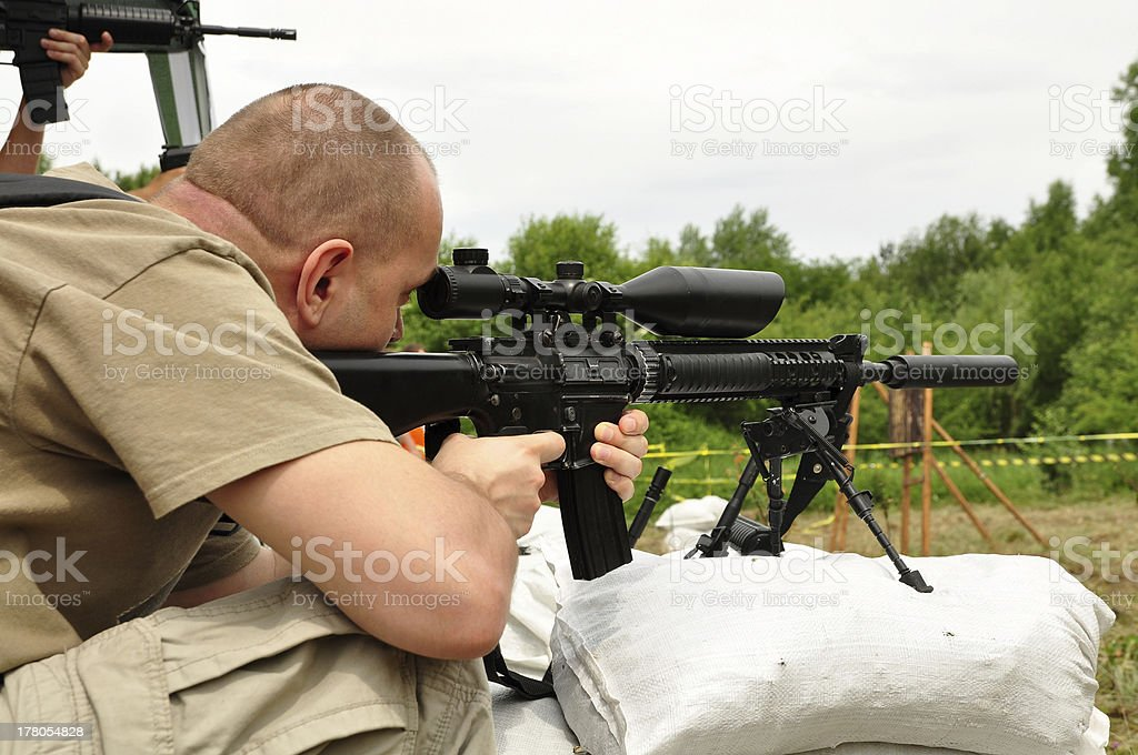 Sniper training royalty-free stock photo