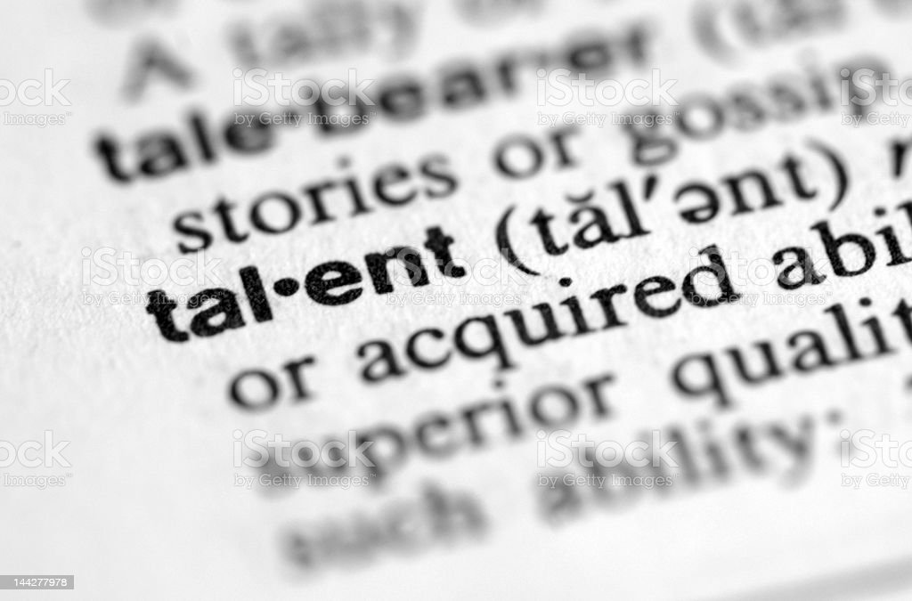 Snippet from a dictionary focusing on the word talent royalty-free stock photo