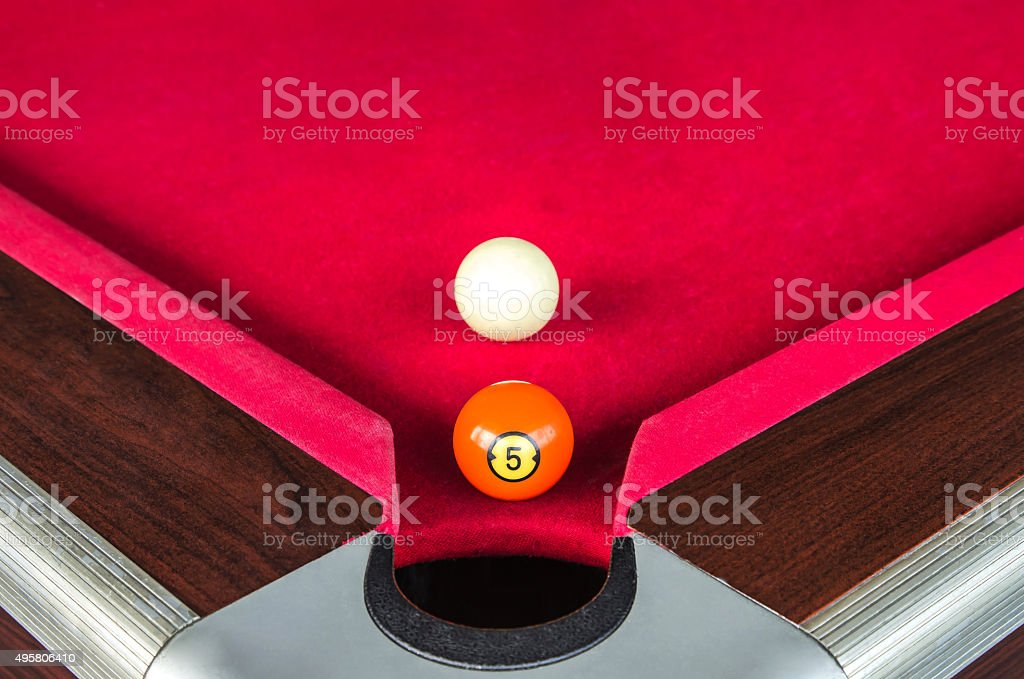 snooker ball five number near the corner hole stock photo