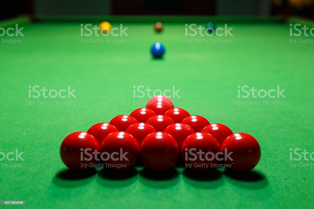 Snooker ball on a billiard table stock photo