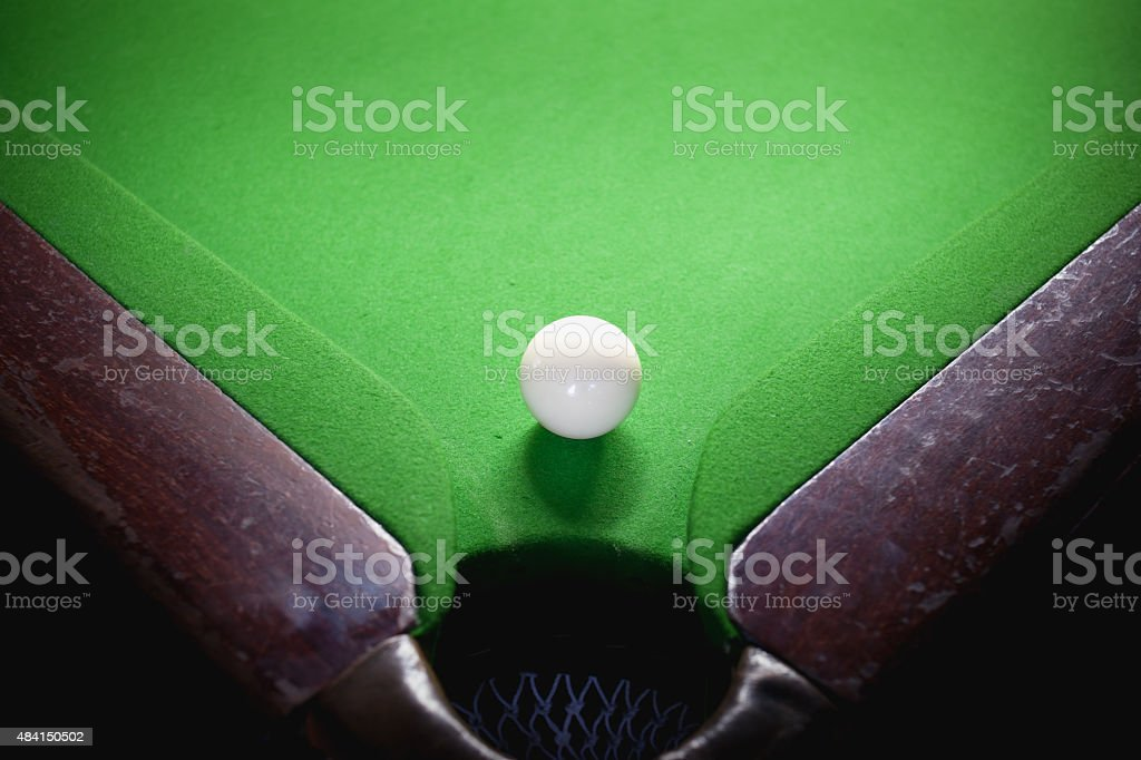 snooker ball on green surface table stock photo