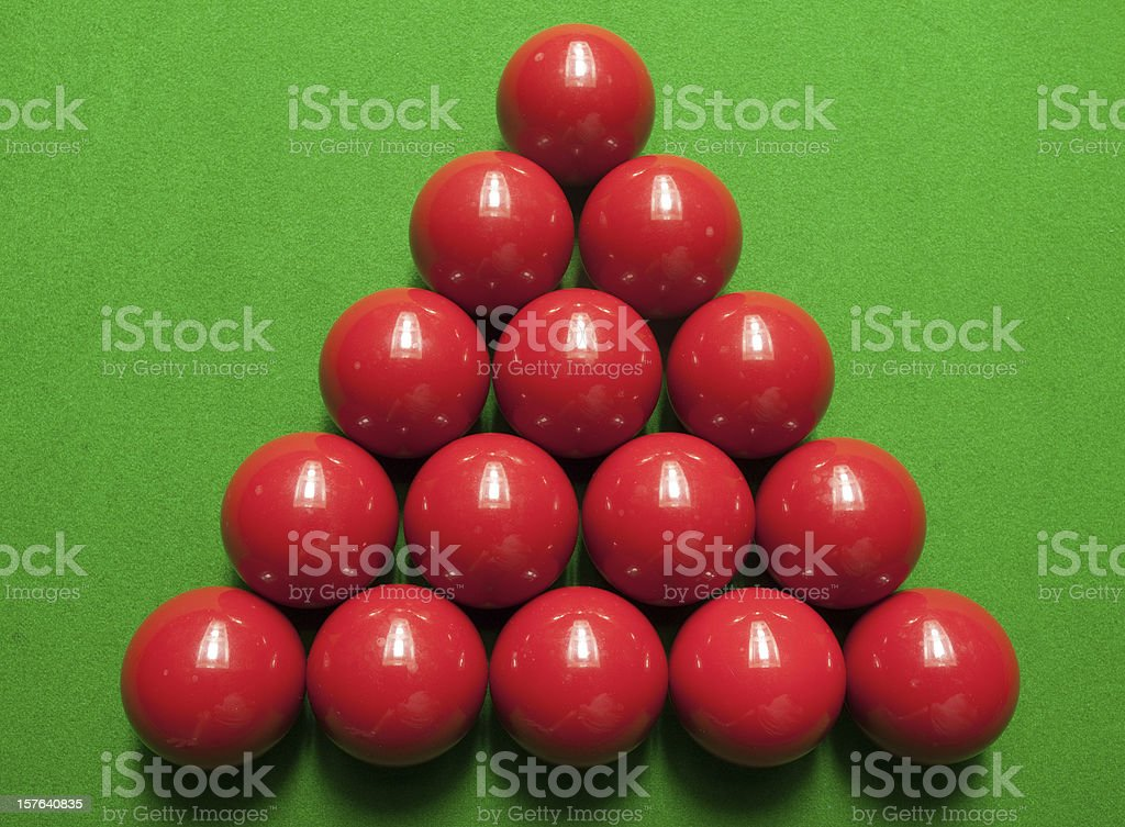 Snooker Balls at the start of play stock photo