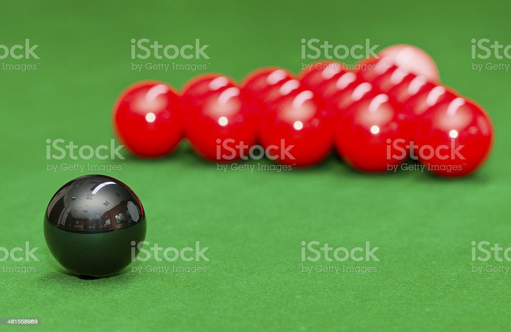 Snooker balls in starting position stock photo