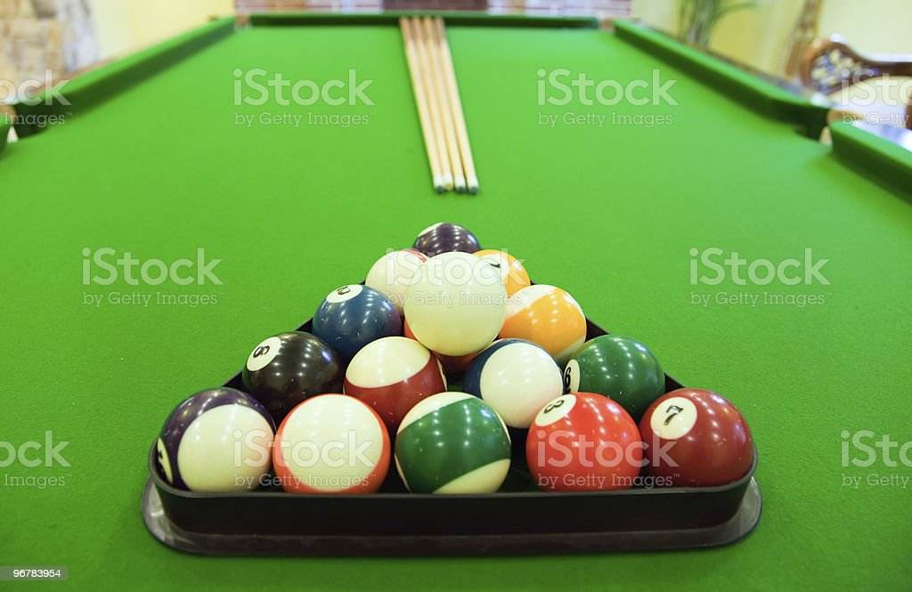 Snooker balls on table royalty-free stock photo