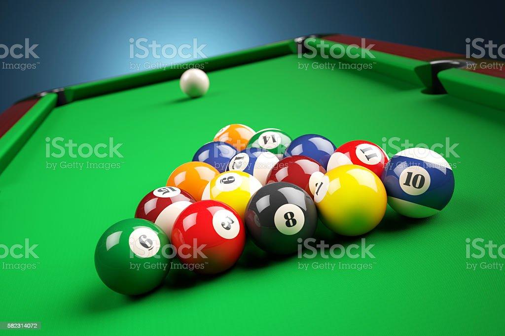Snooker billiard pyramid on green table. stock photo