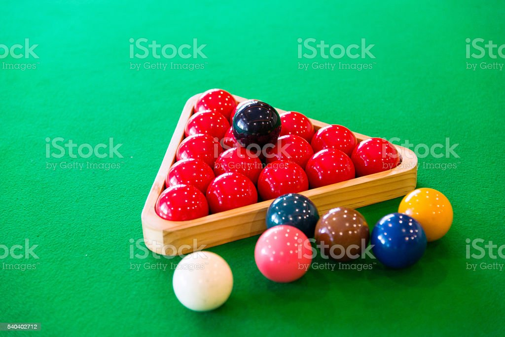 Snooker table and balls stock photo