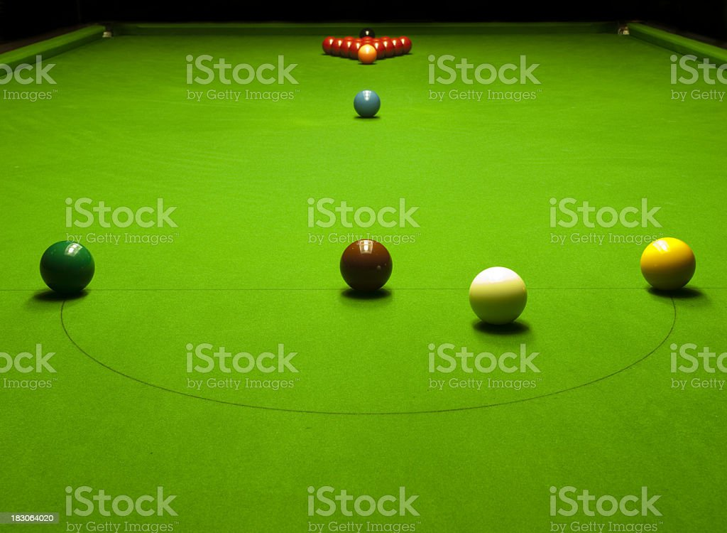 A snooker table with balls set up ready to play. stock photo
