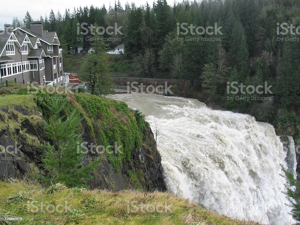Snoqualmie Falls and the Lodge stock photo